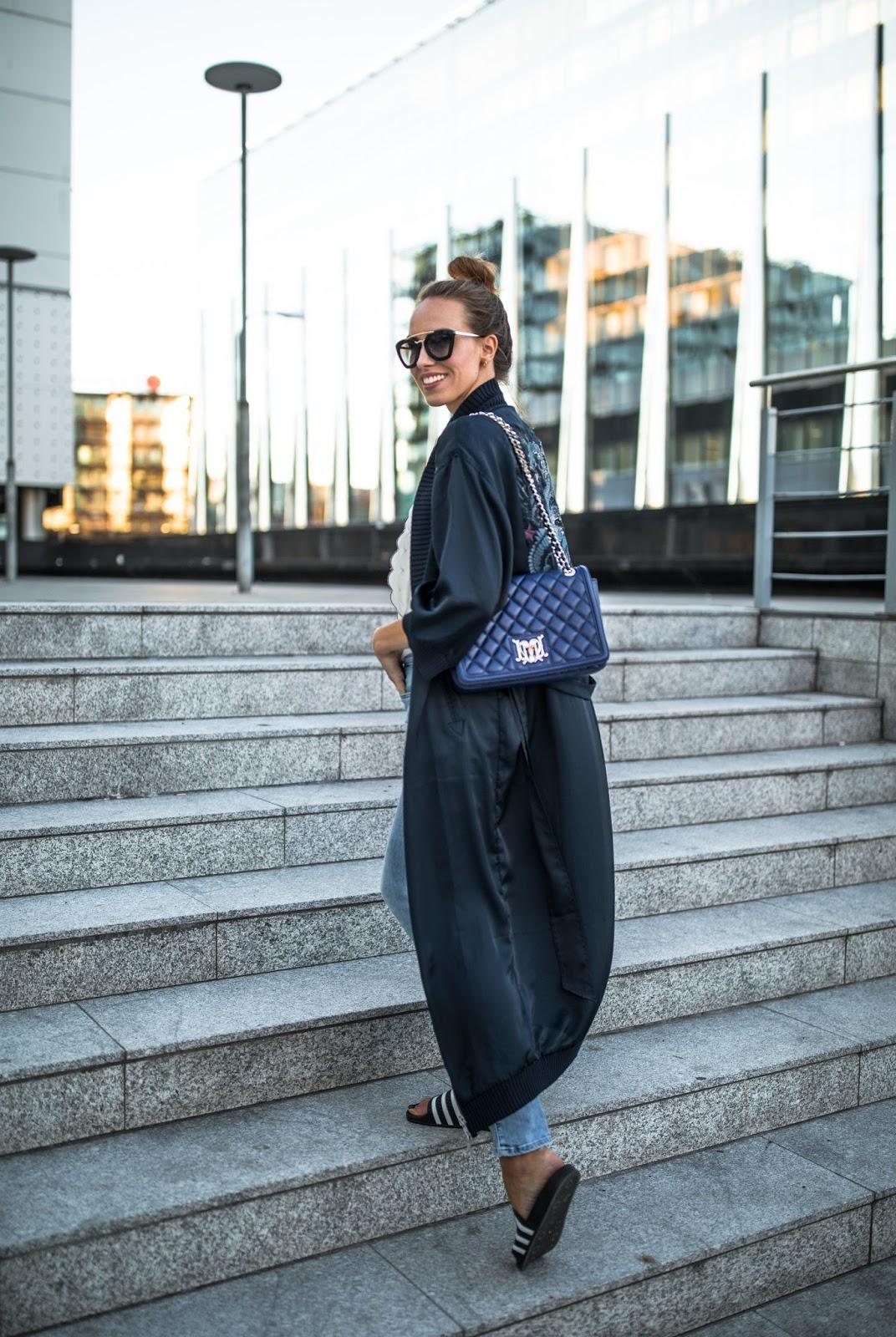long navy silk kimono outfit