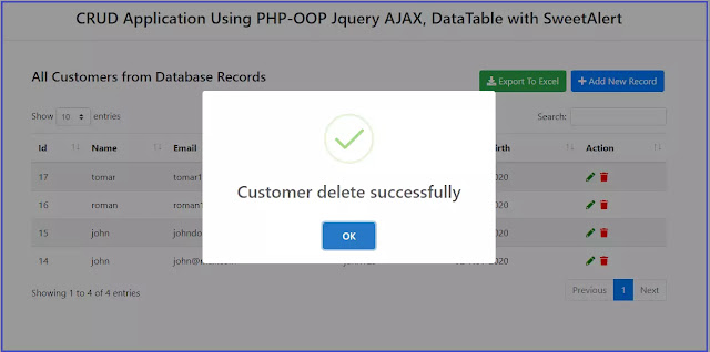 Update, Delete and Export data using OOPS CRUD System with PHP Jquery AJAX and MySQL