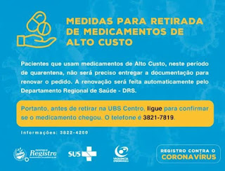 Medidas para retirada de medicamentos de Alto Custo em Registro-SP