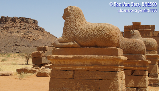 Sheep sculptures look defiantly forward in the Meroë archaeological site, northeastern Sudan