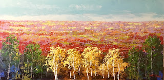 acrylic painting Mountain overlook, trees with fall color