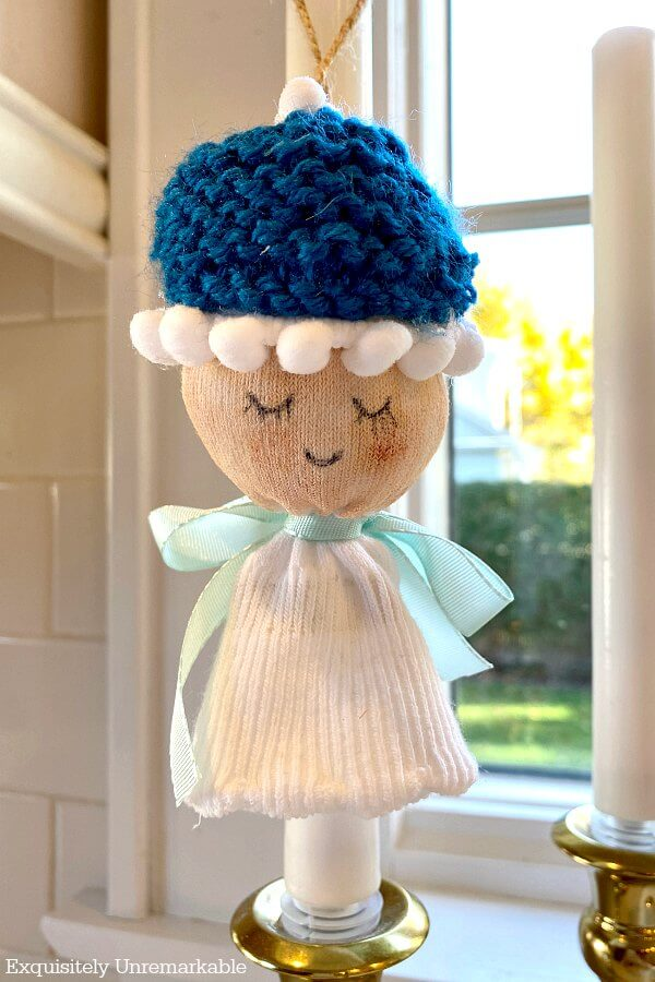 Sock Angel Ornament Boy with blue knit cap
