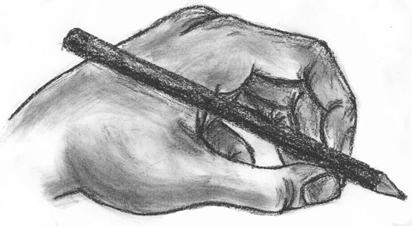kalem tutan el karakalem cizimleri