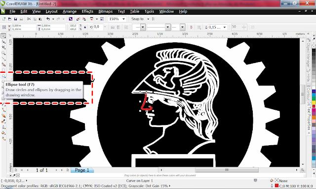 Ok, tudo nos conforme.  Vamos agora Criar a engrenagem. Usaremos a ferramenta Ellipse Tool pra fazer o círculo.