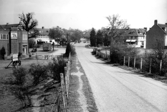 Photograph of Bradmore Green, Brookmans Park, taken from the railway bridge in the 1950s - image from B.H. Warne