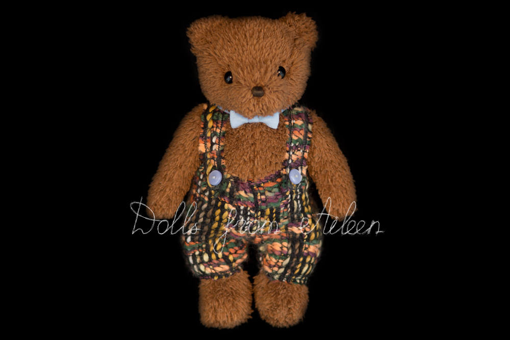 OOAK Artist teddy bear wearing suspenders and bow tie