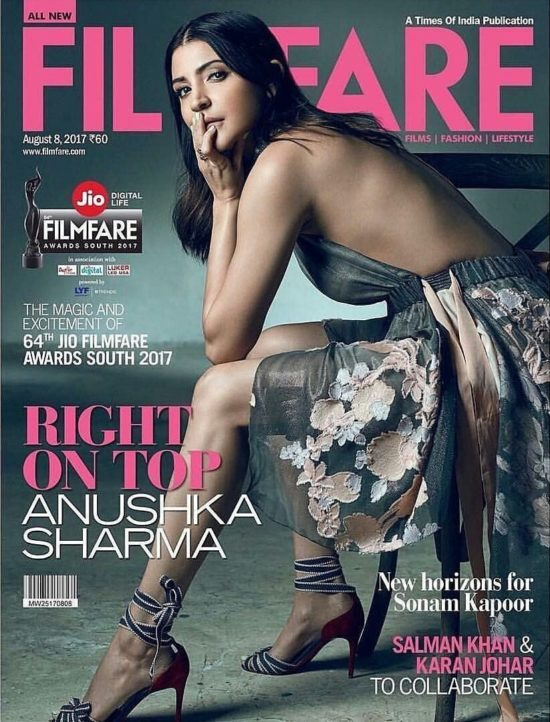 Anushka Sharma on The Cover of Filmfare Magazine August 2017