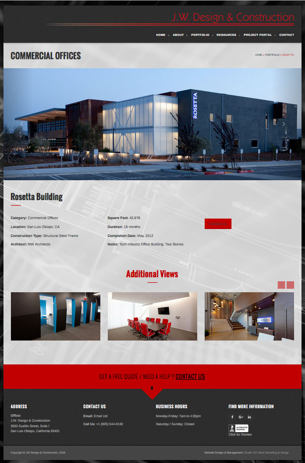 business websites construction firm website architectural photography website studio 101 west marketing - West Website