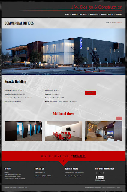 Business Websites - Construction Firm Website - Architectural Photography Website - Studio 101 West Marketing & Design