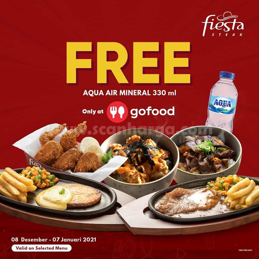 Promo Fiesta Steak GRATIS 1 Aqua 330ml khusus pesan via Gofood