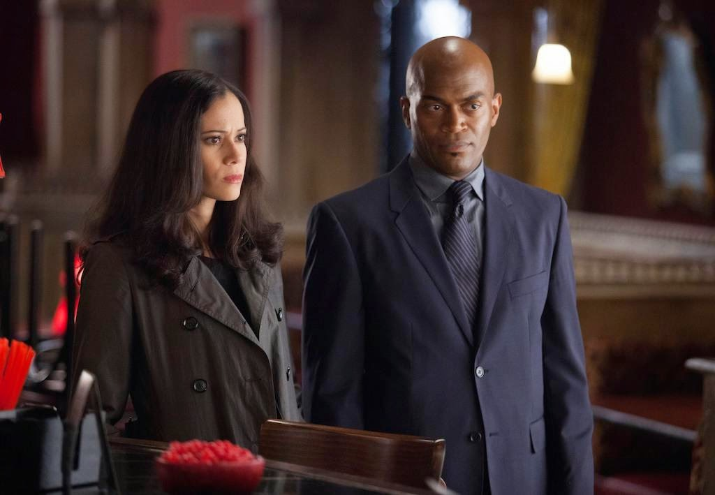 Victoria Cartagena and Andrew Stewart-Jones as Major Crimes Unit detectives Renee Montoya and Crispus Allen in Fox Gotham Season 1 Episode 3 The Balloonman