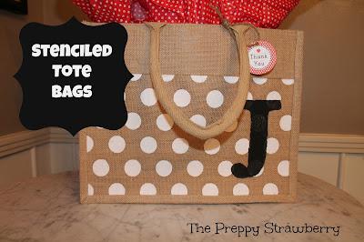 DIY Stenciled Tote Bag {The Preppy Strawberry}