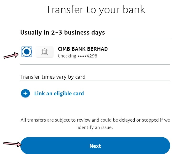 cara transfer duit paypal ke cimb