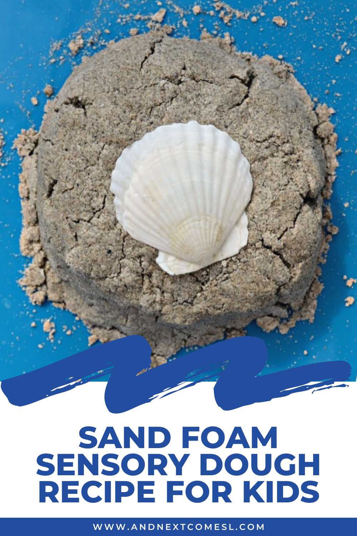 Easy 3 ingredient sand foam sensory dough recipe for kids