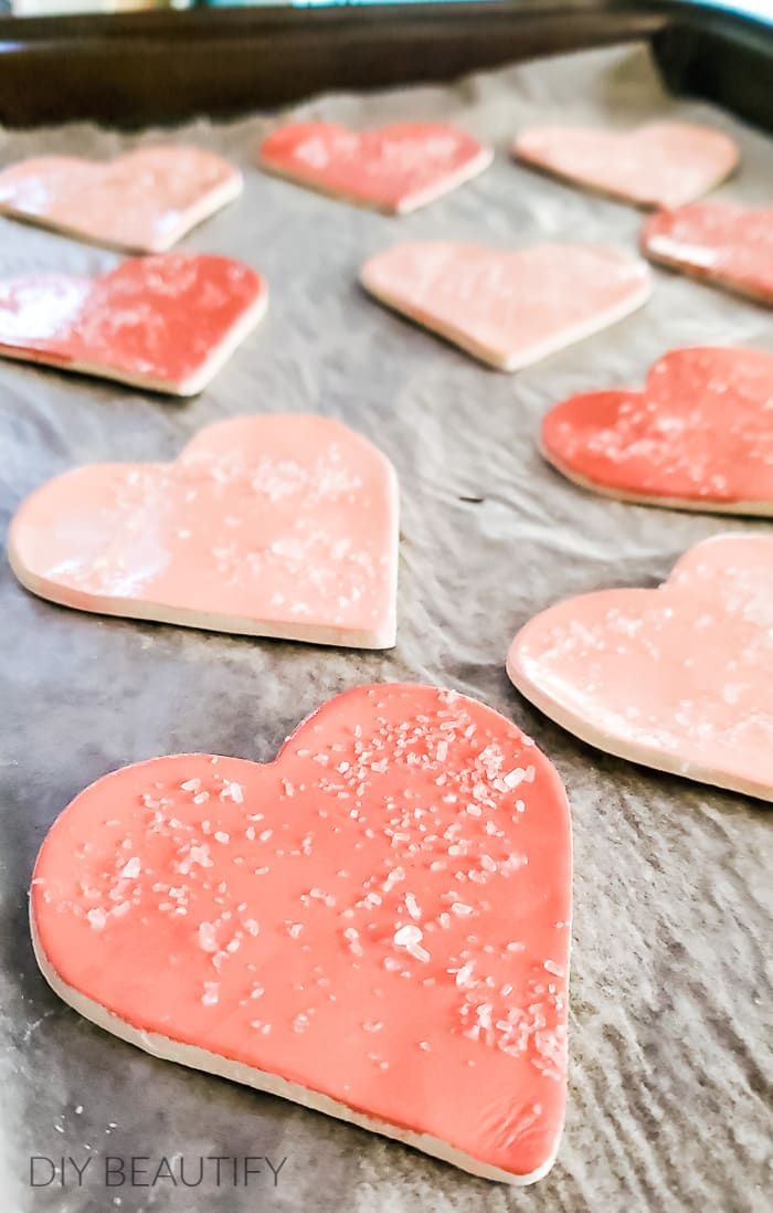 painted and iced clay heart cookies