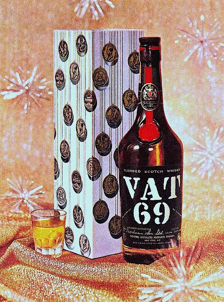a Vat 69 whiskey advertisement in color with tinsel snowflakes and gold lame fabric snow