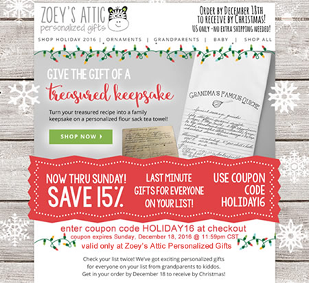 holiday coupon zoey s attic personalized gifts