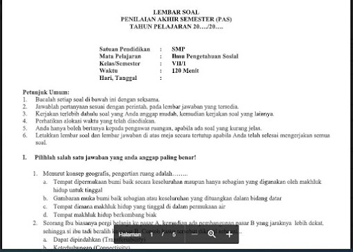 Soal PAS Ilmu Pengetahuan Sosial (IPS) Kelas 7 Kurikulum 2013