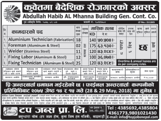 Jobs in Kuwait for Nepali, Salary Rs 63,130