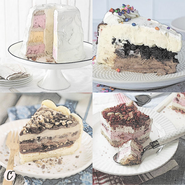 Left to Right: Fourth of July Ice Cream 🍨 Cake 🍰, Ice Cream 🍨 Cake 🍰  That's Better Than Dairy Queen, Ladyfinger Ice Cream 🍨 Cake 🍰, Strawberry Shortcake Cream 🍨 Cake 🍰