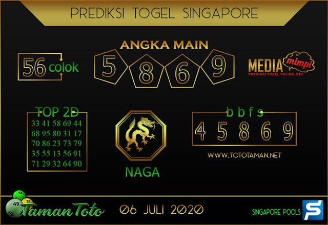 Prediksi Togel SINGAPORE TAMAN TOTO 06 JULI 2020
