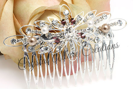 Lauren's Custom Bridal Crystal Pearl Starburst Hair Comb (HC1500)