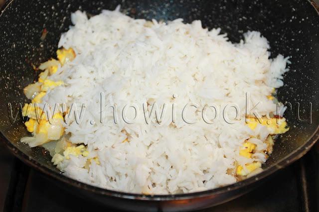 рецепт жареного риса с креветками с пошаговыми фото