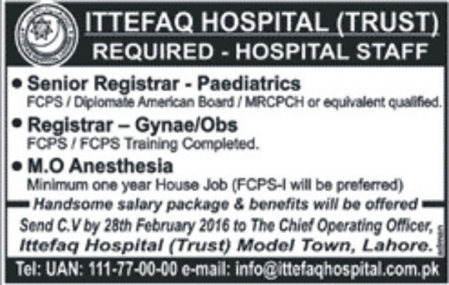 MBBS Doctors Jobs in Lahore Ittefaq Hospital Jobs