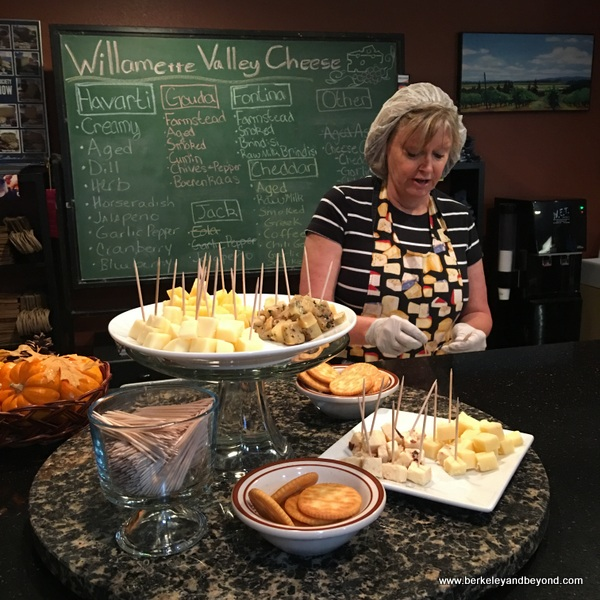 cheese tasting at Willamette Valley Cheese Co. in Salem in Willamette Valley in Oregon