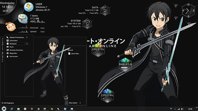 Windows 7 Theme Kirito SAO ALO GGO by Bashkara