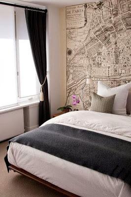 decorar con mapas en dormitorio, cabecero con mapas