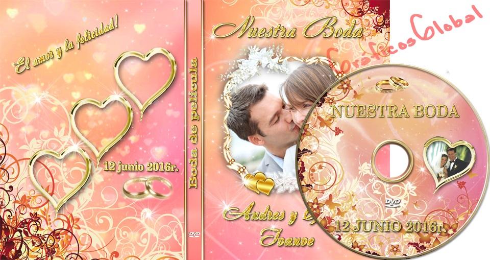 Plantillas psd Floral con Corazones para portada DVD