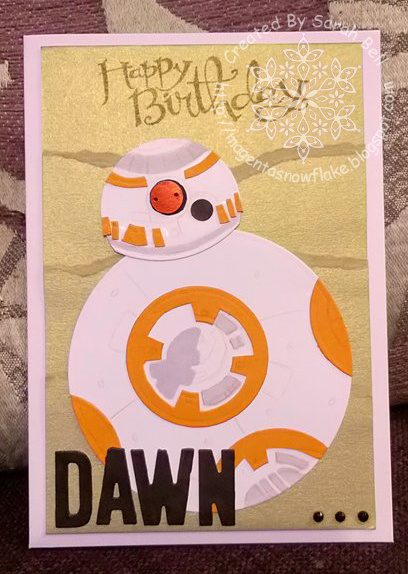 Magenta Snowflake Designs Bb8 Die Cut And Hand Drawn Birthday Card