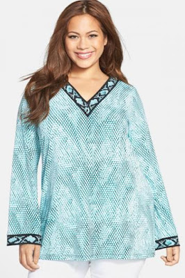 MICHAEL Michael Kors 'Serpent' Border Print Tunic (Plus Size)