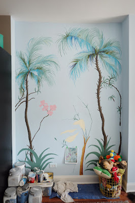 palm flower leaves  branches wall mural hand paint