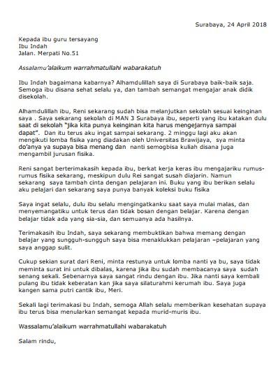 Contoh Surat Pribadi untuk Guru (via: suratresmi.id)