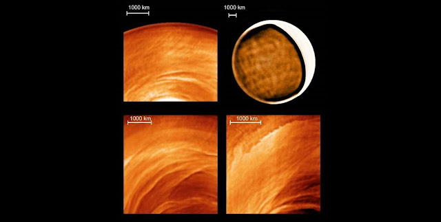 "Examples of new types of cloud morphology discovered on the night side of Venus thanks to Venus Express (ESA) and the infrared telescope IRTF (NASA): stationary waves (Venus Express, up-left corner), ""net"" patterns (IRTF, up-right), mysterious filaments (Venus Express, down-left) and dynamical instabilities (Venus Express, down-right). CREDITS: ESA, NASA, J. Peralta (JAXA) and R. Hueso (UPV/EHU)."