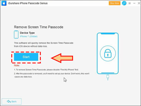 Click Start to remove screen time passcode