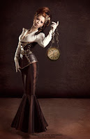 This Steampunk dress/skirt shape is from Victorian era fashion when skirts fitted tightly and flared below the knee.