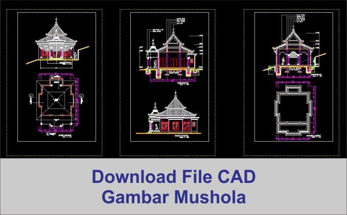 download Mushola minimalis dwg AutoCad