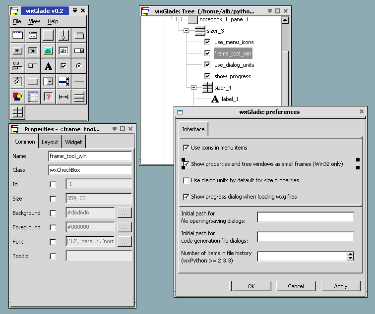 wxGlade is a GUI designer written in Python with the popular