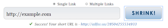 Example of url shortening