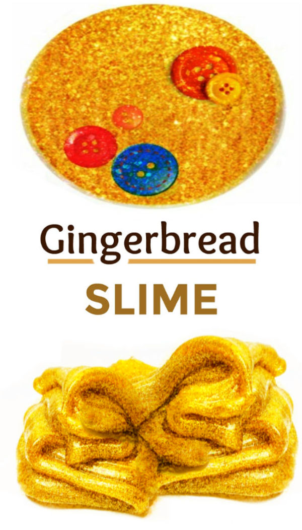 This gingerbread slime is easy to make and smells amazing!  This is our favorite Christmas slime. #gingerbreadman #gingerbreadscience #gingerbreadscience #gingerbreadslimerecipe #gingerbreadmanslime #gingerbreadcrafts #gingerbreadactivitiesforpreschool #easygingerbreadslime #growingajeweledrose #activitiesforkids
