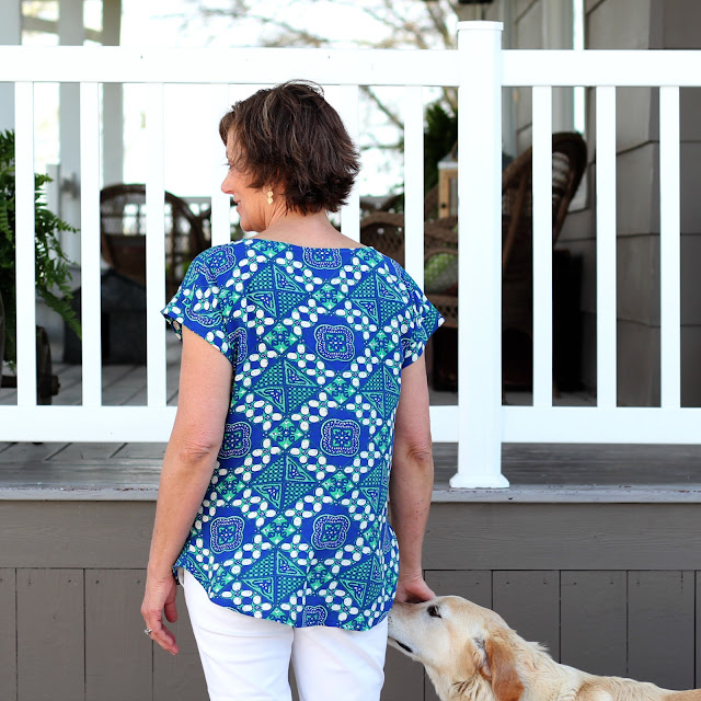 5 point blouse, pattern by Peppermint Creek and published in a Sew News issue.  Fabric is rayon from Mood Fabrics
