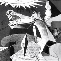 Depiction of steed in Guernica painting by Pablo Picasso, crated in 1937 as a cubist anti war work.