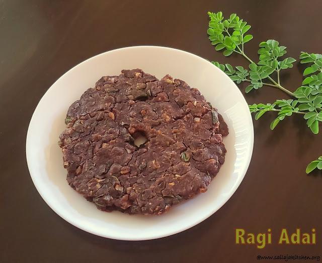 images of Ragi Adai Recipe / Kezhvaragu Adai / Ragi Roti / Murungai Keerai Ragi Adai /Finger Millet Adai