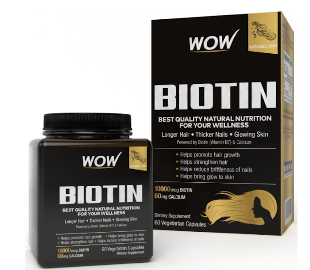 WOW Biotin Maximum Strength 10,000mcg - 60 Vegetarian Capsules