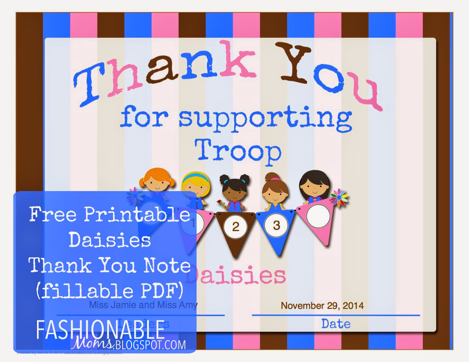 My Fashionable Designs Free Printable Daisy Thank You