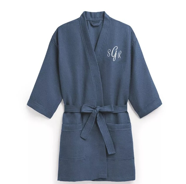 The Knot Shop women's personalized embroidered waffle spa robe in Navy