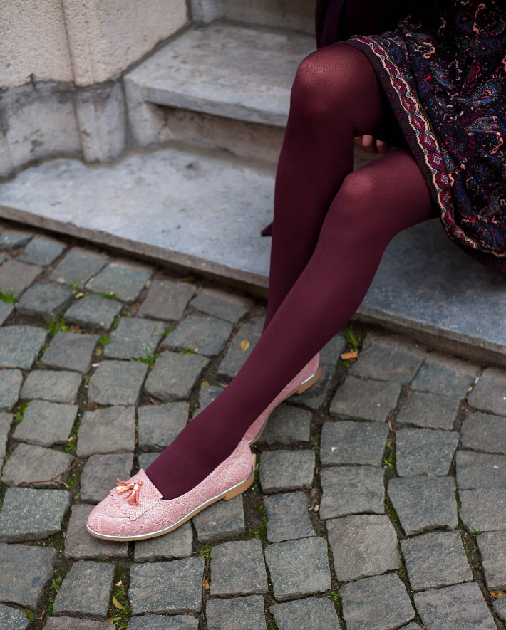 Outfit: eggplant all over with pink loafers